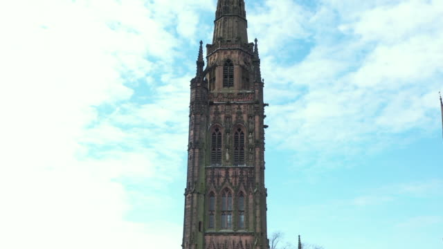 exterior drone shots of coventry old cathedral on 21 april 2020 in coventry, united kingdom. - coventry stock videos & royalty-free footage