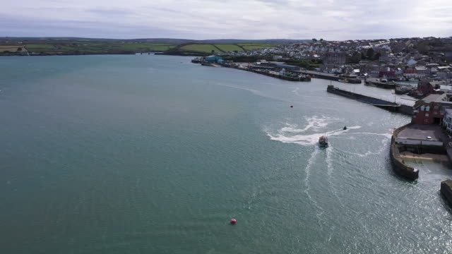 exterior drone shots of newlyn bay on 20 april 2020 in newlyn united kingdom - bay of water stock videos & royalty-free footage