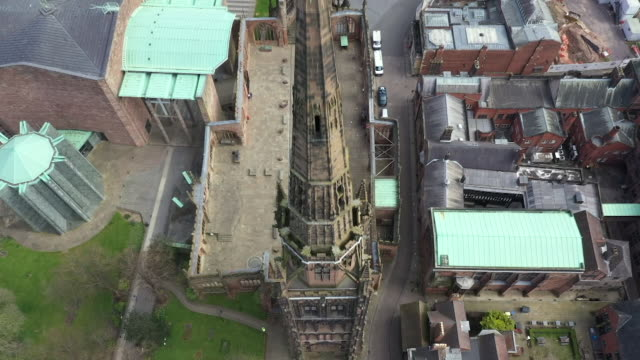 exterior drone shots of the ruins of coventry cathedral on 21 april 2020 in coventry, united kingdom - architecture stock videos & royalty-free footage