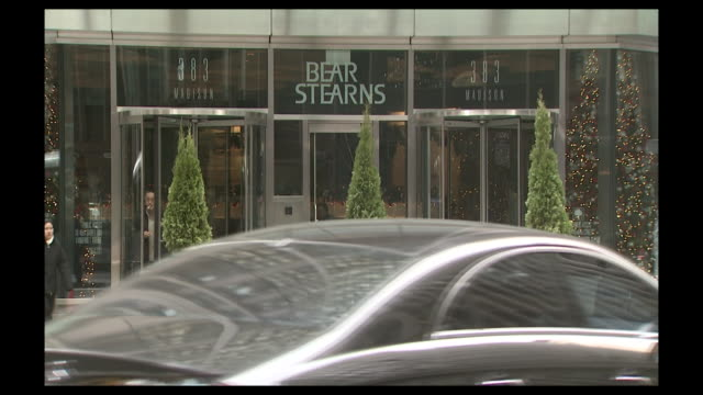 exterior entrance to bear stearns at 383 madison avenue, ny. - recession stock videos & royalty-free footage