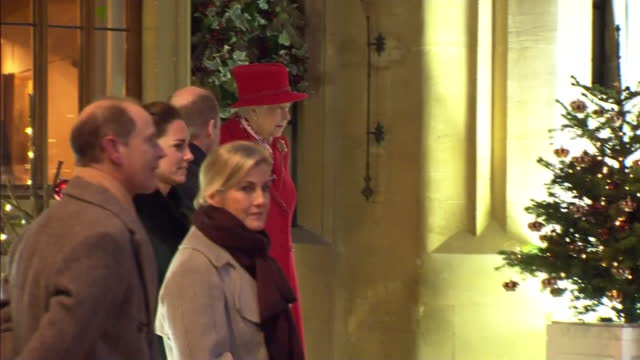 exterior evening shots of queen elizabeth ii greeting prince william duke of cambridge, catherine duchess of cambridge, prince edward earl of wessex,... - prince of wales stock videos & royalty-free footage
