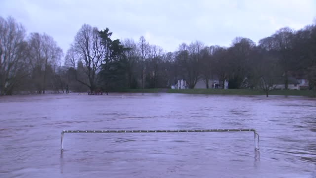 exterior footage of floods from the ebbw river in crumlin following storm dennis, including a submerged football pitch, on 16th february 2020 in... - wales stock videos & royalty-free footage