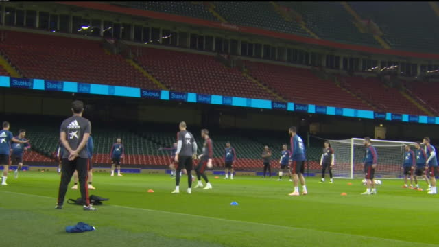 exterior footage of spain national team training at mellenium stadium ahead of their match against wales, on the 10th october 2018, cardiff, wales - spain stock videos & royalty-free footage
