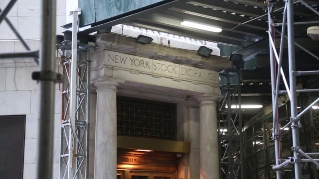 Exterior footage of the entrance to the New York Stock Exchange with Scaffolding above in New York NY on August 28 2017 Photographer Michael Nagle...