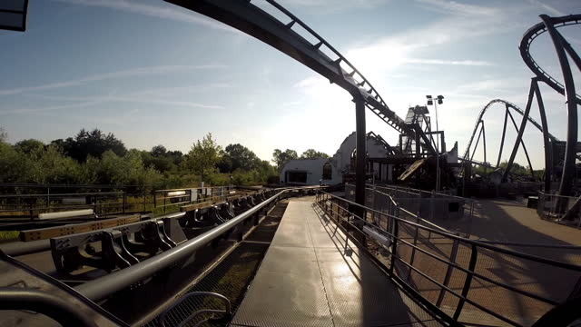 exterior gopro shots of moving roller coaster 'swarm' at thorpe park from point of view from the front of the roller coaster. - rollercoaster stock videos & royalty-free footage