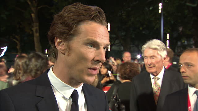 exterior grab benedict cumberbatch, actor at black mass london premiere talks about the european refugee crisis and says that the british government... - benedict cumberbatch stock videos & royalty-free footage