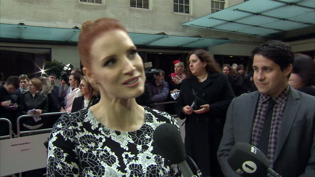 Exterior grab Jessica Chastain talking on Empire Awards red carpet about her favourite actress on March 29 2015 in London United Kingdom