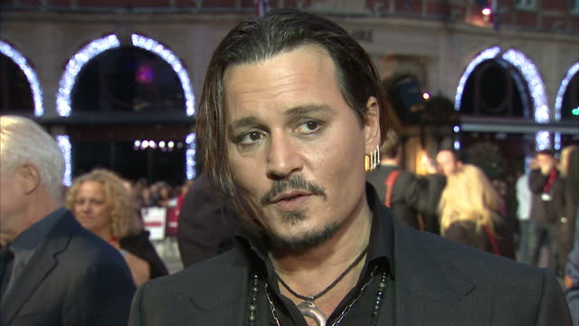 Exterior grab Johnny Depp actor at Black Mass London Premiere talks about deciding to make the film and working with director Scott Cooper on October...