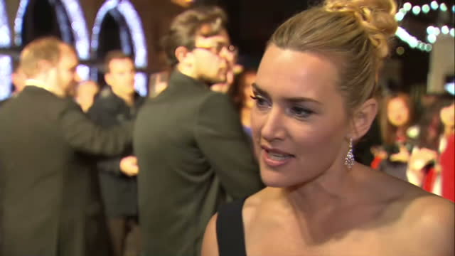 Exterior grab Kate Winslet actress and Danny Boyle Director at Steve Jobs London Premiere talk about not knowing much about Joanna Hoffman before...