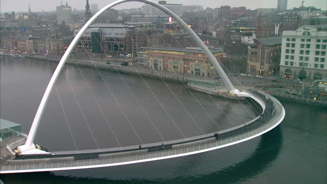 exterior high shots of gateshead millennium bridge and the quayside on december 17 2016 in newcastleupontyne england - gateshead stock videos and b-roll footage