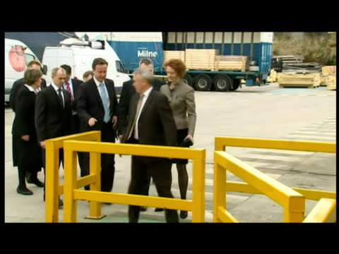 exterior interior shots david cameron arrives tours stewart milne group factory with aberdeen south cabdidate amanda harvie - aberdeen hong kong stock videos & royalty-free footage