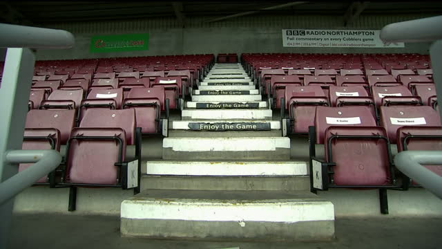 exterior & interior shots of the stands and pitch at the pts stadium . this footage was taken on the 3rd of december 2020. - northampton stock-videos und b-roll-filmmaterial