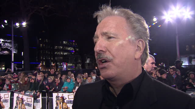 Exterior interview Alan Rickman talks about working on Gambit Interview with Alan Rickman on the Red Carpet on November 08 2012 in London England