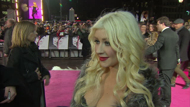 exterior interview christina aguilera on the red carpet at the premiere of burlesque christina aguilera interview at burlesque premiere on december... - christina aguilera stock videos & royalty-free footage