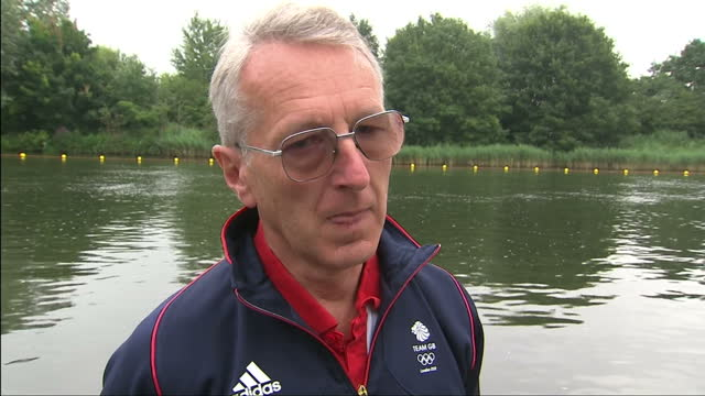 stockvideo's en b-roll-footage met exterior interview david tanner british rowing's international manager performance director on team gb's medal hopes in the women's pair men's eight... - getal 8