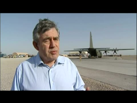 exterior interview gordon brown re: defending the timing of his trip just a day after giving evidence at the iraq inquiry - provinz helmand stock-videos und b-roll-filmmaterial