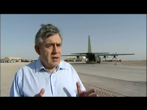 exterior interview gordon brown re: paying tribute to british forces who took part in operation moshtarak - provinz helmand stock-videos und b-roll-filmmaterial