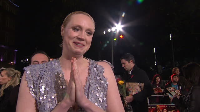 Exterior interview Gwendoline Christie actress talks on The Hunger Games Mockingjay Part 2 red carpet about equality for women in the film industry...