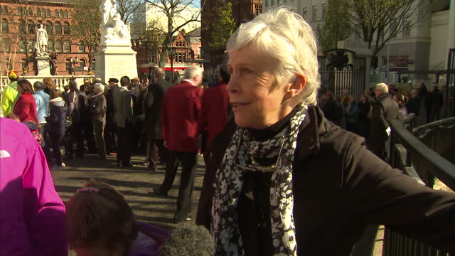 exterior interview helen sanderson relative of titanic victim relative of titanic victim speaks at memorial on april 15 2012 in belfast northern... - titanic belfast stock videos & royalty-free footage
