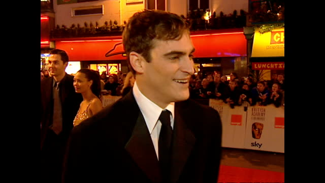 Exterior interview Joaquin Phoenix actor on red carpet at the BAFTA Awards talking about his role in Gladiator on February 25 2001 in London England