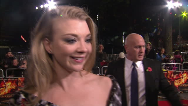 exterior interview natalie dormer actress talks on the hunger games mockingjay part 2 red carpet about equality for women in the film industry on... - dormer stock videos and b-roll footage