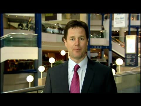 exterior interview nick clegg, liberal democrats leader. nick clegg says his party would not support early spending cuts, & insisted the next... - british liberal democratic party stock videos & royalty-free footage