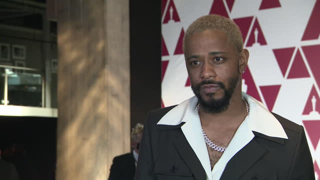 stockvideo's en b-roll-footage met exterior interview of lakeith stanfield speaking about being nominated for an oscar for best supporting actor for judas and the black messiah and the... - judas