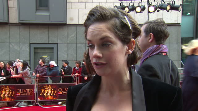 Exterior interview Ruth Wilson speaks about her role in 'Anna Christie' at the Donmar on the red carpet at the Laurence Olivier Awards Ruth Wilson on...