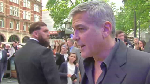 exterior interview with Actor George Clooney about his interest in politics and life in Britain at the London premiere of 'Tomorrowland a World...