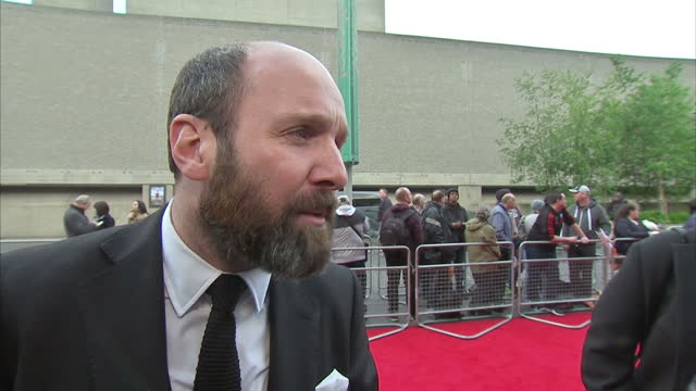 exterior interview with actor johnny harris speaking about how paul weller came to write the soundtrack for the film 'jawbone' when a mutual friend... - soundtrack stock videos & royalty-free footage