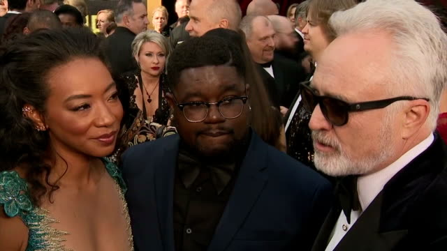 exterior interview with actors betty gabriel, lil rel howery and bradley whitford on the success of 'get out' and their co-star daniel kaluuya.>> on... - bradley whitford stock videos & royalty-free footage