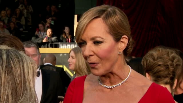 Exterior interview with actress Allison Janney about her 'Best Supporting Actress' win at the Independent Spirit Awards and nomination in the same...