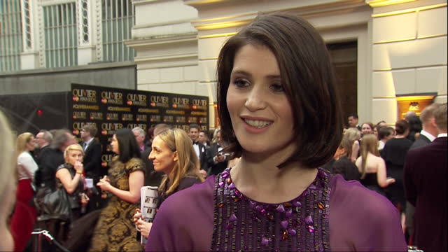 Exterior interview with actress Gemma Arterton speaking about being nominated for the Best Actress award for her role in 'Nell Gwynn' and how the...