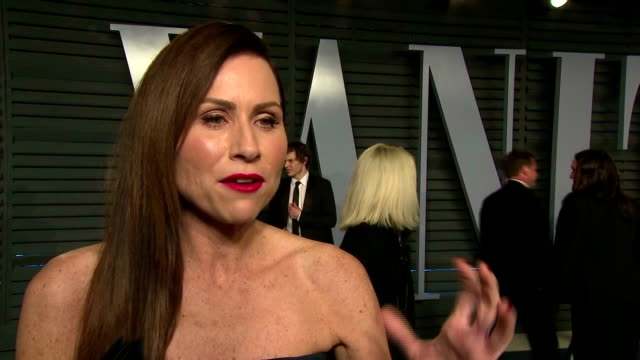 exterior interview with actress minnie driver on the red carpet at the vanity fair oscars afterparty speaking about the tone of the academy awards... - minnie driver stock videos and b-roll footage