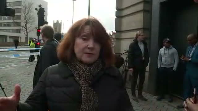 exterior interview with an unidentified eyewitness, who had been a passenger on a london sightseeing tourbus, speaking what she saw on westminster... - westminster bridge stock videos & royalty-free footage