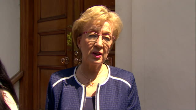 exterior interview with andrea leadsom mp on her decision to quit and the prime minister's departure on 23 may 2019 in london united kingdom - staatsdienst stock-videos und b-roll-filmmaterial