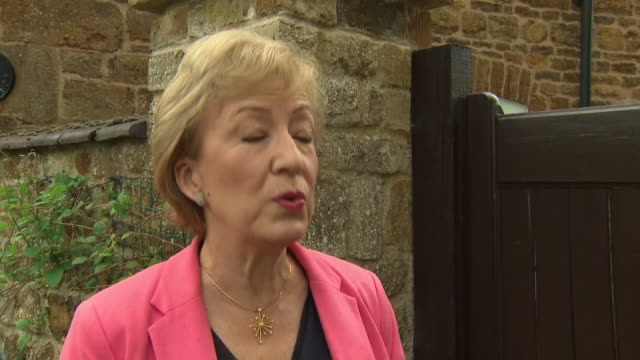 vidéos et rushes de exterior interview with andrea leadsom mp on her leadership ambitions on 26 may 2019 in northampton, united kingdom - northampton
