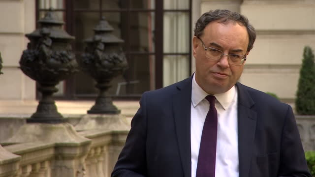 exterior interview with andrew bailey bank of england governor during the coronavirus outbreak on 7 may april 2020 in london united kingdom - バンク オブ イングランド点の映像素材/bロール