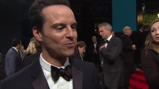 Exterior interview with Andrew Scott on the red carpet at the Royal World Premiere of 'Spectre' at Royal Albert Hall on October 27 2015 in London...