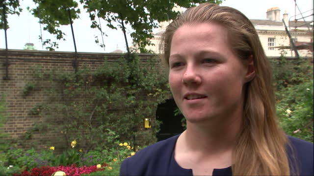 Exterior interview with Anya Shrubsole England Women's Cricket team bowler during reception at No 10 Downing Street on 29th August 2017 London England