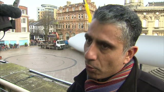 Exterior interview with artist Nayan Kulkarni about the installation of his sculpture 'Blade' in Hull city centre on January 08 2017 in Hull England