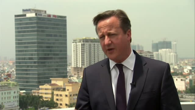 exterior interview with british prime minister david cameron speaking about continuing to work with the french authorities to secure the british... - calais stock videos and b-roll footage