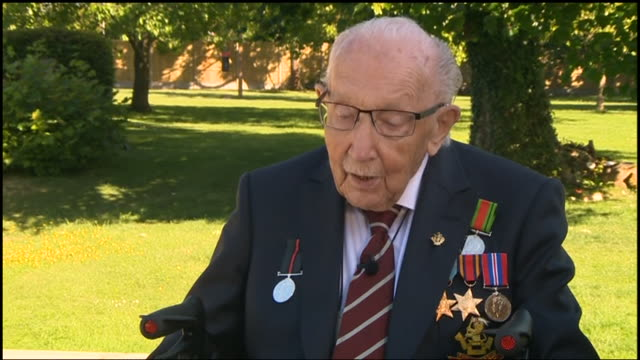 GBR: UK: Captain Tom Moore is to be knighted for his fundraising efforts after a special nomination from the prime minister.The war veteran raised more than £32m for NHS charities by completing 100 laps of his garden before his 100th birthday in April.