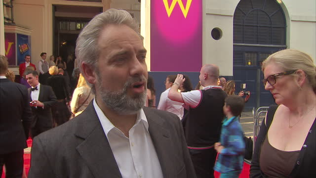 exterior interview with charlie the chocolate factory musical director sam mendes on the red carpet for its premiere at theatre royal drury lane sam... - sam mendes stock videos & royalty-free footage