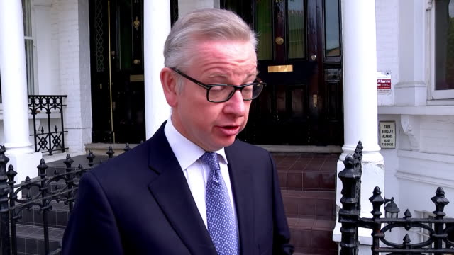 exterior interview with conservative leadership michael gove mp on his leadership intentions on 26 may 2019 in london united kingdom - michael gove stock-videos und b-roll-filmmaterial