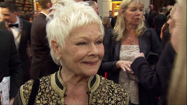 exterior interview with dame judi dench, speaking about how she has bet with her grandson about whether she will win the best supporting actress... - ジュディ・デンチ点の映像素材/bロール