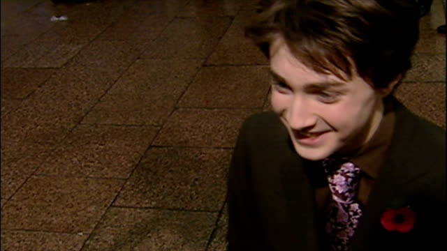exterior interview with daniel radcliffe at the premiere of harry potter and the chamber of secrets on november 3 2002 in london england - potter stock videos & royalty-free footage