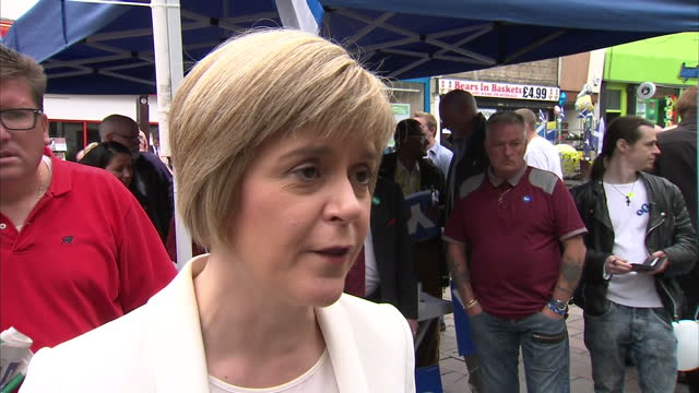 exterior interview with deputy first minister nicola sturgeon campaigning for the yes vote for scottish independence talking about hoe independence... - yes single word stock videos & royalty-free footage