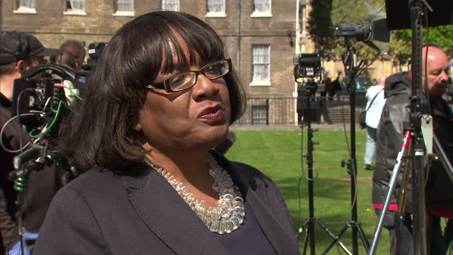 exterior interview with diane abbott shadow home secretary speaking about her reaction to theresa may's decision to call an early election saying... - diane abbott stock videos & royalty-free footage