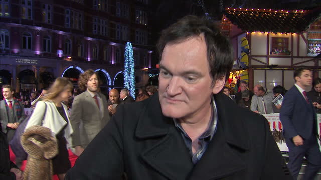 Exterior interview with Film Director Quentin Tarantino at the Hateful Eight Premiere about being nominated for a Golden Globe at Leicester Square on...
